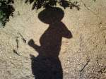 My shadow on a boulder on the Barr Trail, Pikes Peak